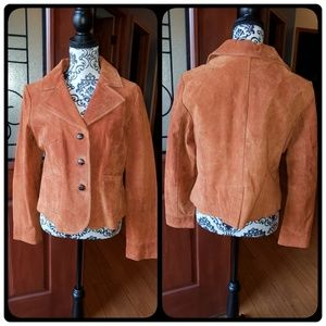 NWOT Burnt orange genuine leather suede jacket